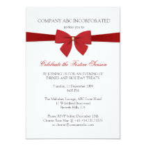 Simple Holiday Red Ribbon Corporate Party Invitation
