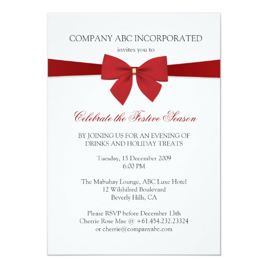 Simple Holiday Red Ribbon Corporate Party Invitation Zazzle Com
