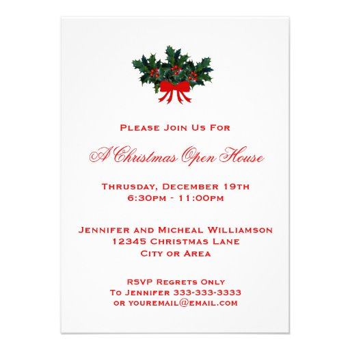 Simple Holly Christmas Open House or Party #2 Red Custom Invite