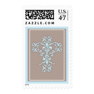 Simple Holy Religious Cross in Blue Postage