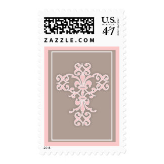 Simple Holy Religious Cross in Pink Postage