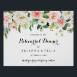"""Simple Horizontal Rehearsal Dinner Welcome Sign<br><div class=""""desc"""">This simple horizontal rehearsal dinner welcome sign is perfect for a tropical wedding rehearsal. The design features lovely white,  pink,  and blush hand-painted roses embedded in green foliage,  inspiring artistic beauty.</div>"""