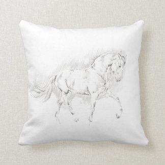 Simple Horse Sketch Line Art Throw Pillow