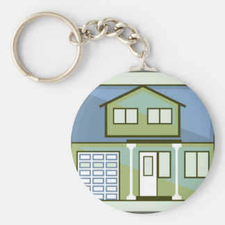 Simple House Basic Round Button Keychain