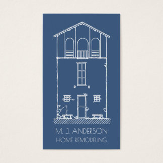 Simple House Blueprint Drawing Professional Business Card