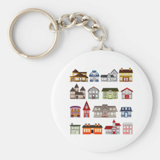 Simple Houses Basic Round Button Keychain