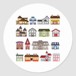 Simple Houses Classic Round Sticker