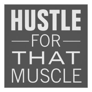 Simple Hustle Typography Motivational Workout Poster