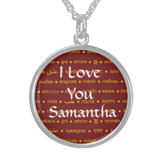 Simple I love you personalized valentines day Round Pendant Necklace