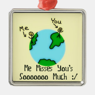 Simple I Miss You Cartoon Metal Ornament