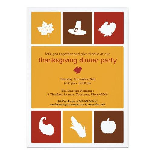 Simple Icons Thanksgiving Dinner Invitation