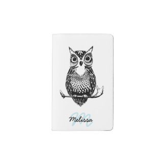 Simple Illustrated Owl with Name Pocket Moleskine Notebook