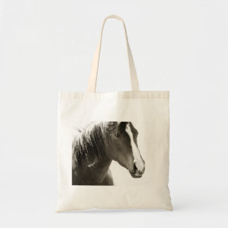 Simple Image of a Horse in Black and White Tote Bag