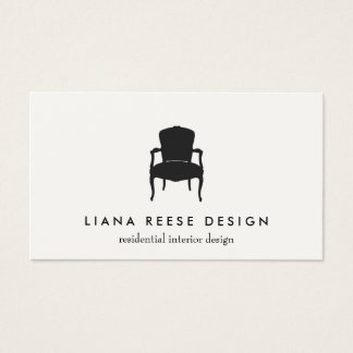 Simple Interior Design French Chair Logo Cream Business Card