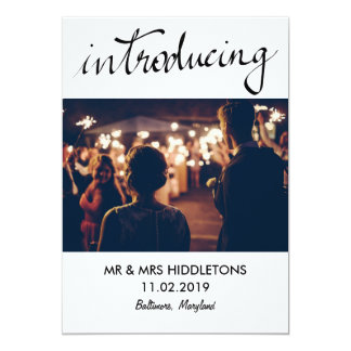 Simple Introducing Typography Wedding Couple Photo Card