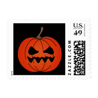 Simple Jack o Lantern Halloween postage stamps