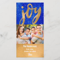 Simple Joy Hand Lettered Gold Script Holiday Photo