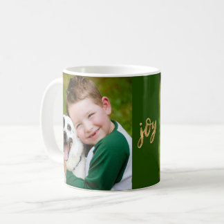 Simple Joy Hand Lettered Script Gold Photo Holiday Coffee Mug