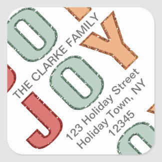 Simple Joy Holiday Address Label   Glitter