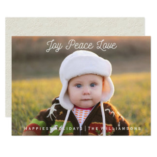 Simple Joy Peace Love Hand-lettered Holiday Photo Card