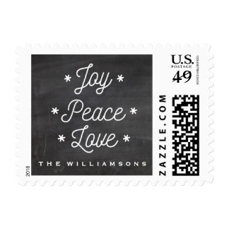 Simple Joy Peace Love Hand-Lettered Holiday Postage