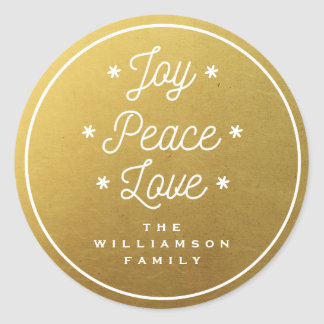 Simple Joy Peace Love Hand-Lettered Trendy Gold Classic Round Sticker