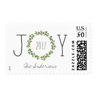 Simple Joy Wreath Christmas Holiday Postage