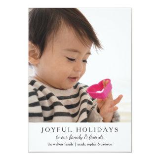 Simple Joyful Holidays Custom Photo Card