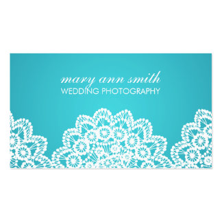 Simple Lace Wedding Photography Blue Business Card