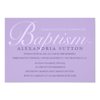 Simple Lavender Baptism/Christening Invite