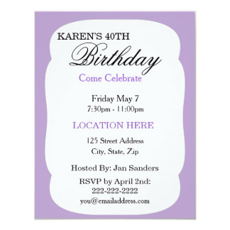 Simple lavender Birthday Party Invitations