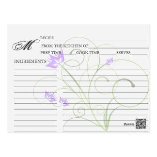 Simple Lavender Swirly Swirl Recipe Cards