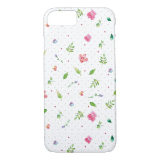 Simple Leaves and Flowers Scattered Pattern iPhone 7 Case