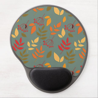 Simple Leaves & Berries on Sage Green Gel Mouse Mat