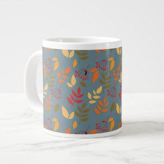 Simple Leaves & Berries on Slate Blue Giant Coffee Mug