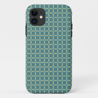 Simple leaves pattern in blue iPhone 11 case