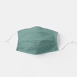 Simple leaves pattern in blue cloth face mask