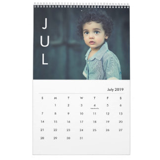 Simple Left Month Modern Photo Calendar