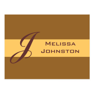 simple light brown name postcard