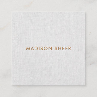 Simple, Light Gray Linen, Minimalist Professional Square Business Card