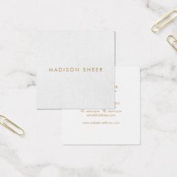 Simple, Light Gray, Modern Minimalist Square Business Card