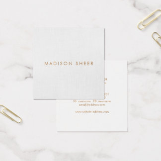Simple, Light Gray, Modern Minimalist Square Business Card