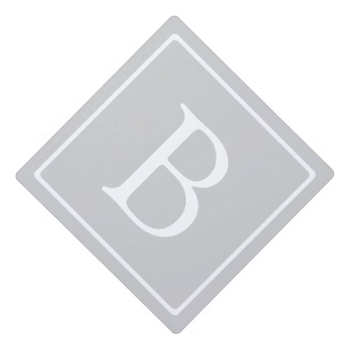 Simple Light Grey Monogram Graduation Cap Topper