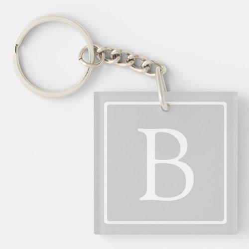 Simple Light Grey Monogram Keychain