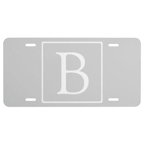 Simple Light Grey Monogram License Plate