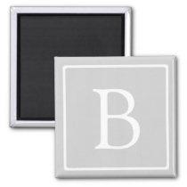 Simple Light Grey Monogram Magnet