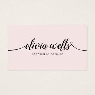 Simple Light Pink Handwritten Script Calligraphy Business Card