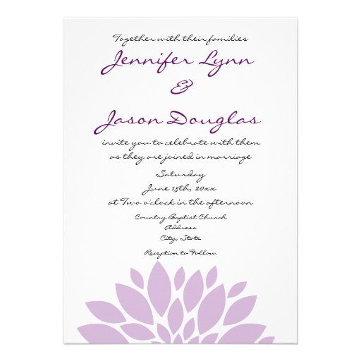 simple light purple flower wedding invitations 5 x 7 invitation card zazzle. Black Bedroom Furniture Sets. Home Design Ideas
