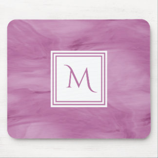 Simple Light Purple Subtle Marble Modern Monogram Mouse Pad