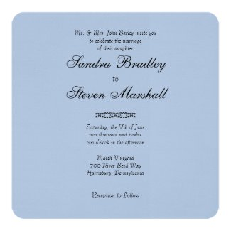 Simple Light Steel Blue Wedding Invitations